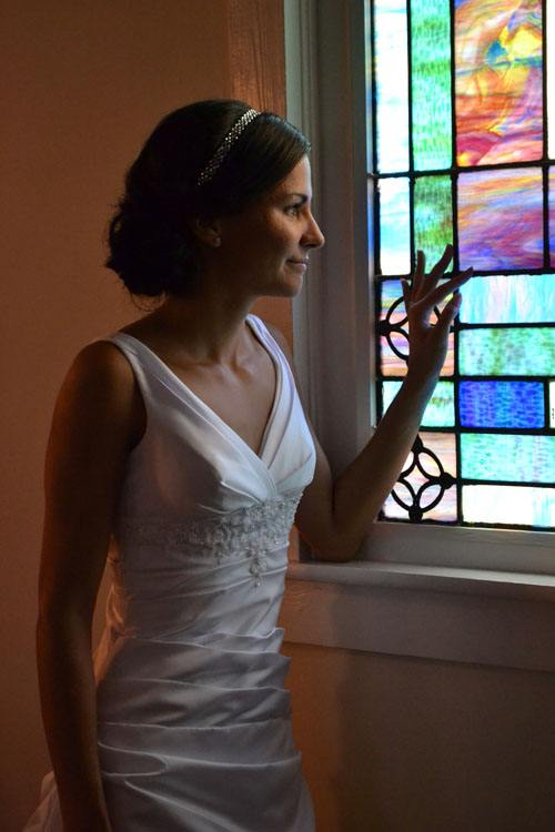 Bride thinking about Wedding Chapels in Georgia